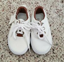 Nwt Koala Kids Boys White Canvas Sneakers Shoelaces Faux Leather Accent Sz 5 C