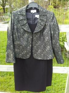 Le Suit dress suit; black dress w/ black & grey jacket; women's 20w