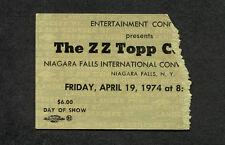 Original 1974 Zz Top concert ticket stub Niagara Falls Ny Tres Hombres
