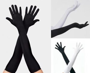 """Dance Costume Gloves LONG Black or White Child 15"""" and Adult 18"""" Jazz Tap New"""