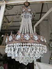 """Antique French Gigantic Bohemia Crystal Chandelier Ceiling Lamp 1940's 18"""" Dmtr."""