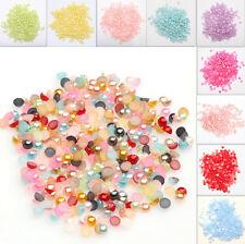 2000Pcs Half Round Pearl Flat Back Bead Scrapbooking Embellishment Craft U Pick