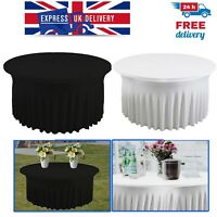 5ft Round Skirt Style Table Cloth 190GSM Spandex Stretch Ruffled Party Tableware