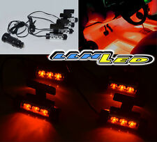 New 4x 3 Led Car Charge 12V Glow Interior Decorative Atmosphere Light Orange