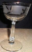 Silver Sharpie Foil Leaf Libbey Glass Water Stemmed Cordial Wine Goblet Frosted