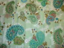 "Vintage Cotton Fabric BLUE GREEN BROWN PAISLEY Avon 1/2 Yd/36"" Wide"