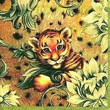 Tiger Baby cream wild animal luxury traditional paper napkins 20