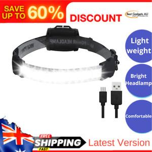 LED Headlamp Super Bright 220°Wide Beam Headlight USB Rechargeable COB Head Lamp