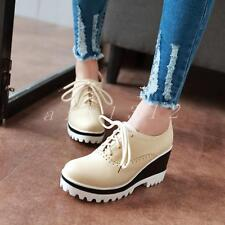 Womens Ladies Brogue Lace Up Platform Wedge Heel Creepers Sneakers Shoes Size