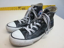 Converse All Stars black leather high tops shoes size M 5 W 7 EUC