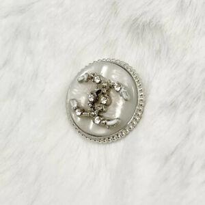 "Chanel Buttons White&Silver Diamond Rhinestone 3/4"" (20mm)"
