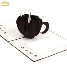 3D Laser Cut Coffee Cup Pop up Gift Xmas Birthday Greeting Card Postcard Gift