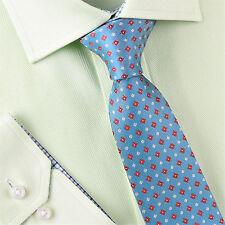 "Red Floral Green Diamond Studs 3"" Skinny Woven Tie Mens Luxury Fashion Necktie"