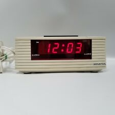 Spartus Corp Dual Alarm Clock Beige Bone White Model Number 127961 Red LED Light