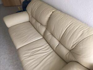 Couch und Sessel ( Leder) Cremefarben