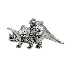 Triceratops Dinosaur Charm Sterling Silver Animal Reptile Split Ring Attachment