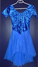 USED Skating dress Royal Blue ideal dance test dress Teen Adult M