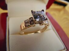 1.75 Ct Square Princess Cut Engagement Ring Band Solid 14k Yellow Gold