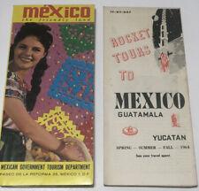 Lot of 2 Vintage 1960's Foldout Travel Brochure MEXICO Mexican Gov. Tourism