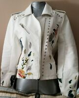 NWT BLANK NYC Floral Embroidered Studded White Vegan Faux Leather Moto Jacket M