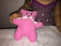 "My Life Doll Mini Teddy Bear Friend Toy Plush For Sleeping Pink Fits 18"" Doll"