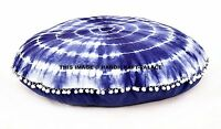 Indigo Bleu Mandala Décorative Sol Rond Oreiller Sièges Housse Pouf Pom Dentelle