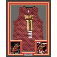 FRAMED Autographed/Signed TRAE YOUNG 33x42 Atlanta Red Basketball Jersey JSA COA