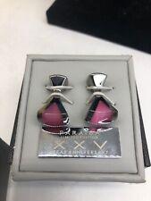 RT by TATEOSSIAN Swarovski Crystal & Rhodium Square Cufflinks New in Box paraiba