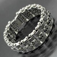 Men Silver Stainless Steel Skull Motorcycle Chain Link Bracelet Heavy Wide Biker