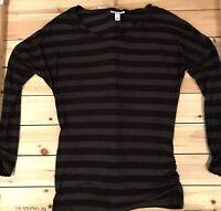 Liz Lange maternity black and gray striped long sleeve top