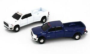 1:64 ERTL 2020 RAM 3500 HD DUALLY Pickup Truck *PAIR* Blue & White NEW