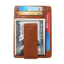 Men's Money Clip Front Pocket Wallet Leather RFID Blocking Magnet Thin Wallet