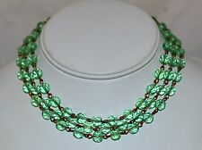 Vintage 3 Strand Green Faceted Cut Crystal Choker Necklace w/ Metal Link Spacers