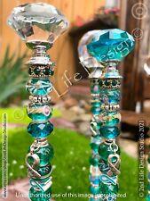 Teal Ribbon Ovarian Cancer Awareness Glass Garden Stake Fairy Wand Usa Handmade