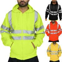 Men Waterproof Hoodie Coat Zip Up Sweatshirt  High Vis Visibility Work Jacket SH