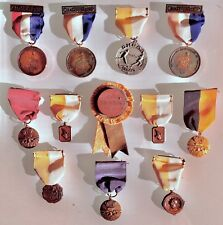 AMAZING SET (12) OF VINTAGE COLLEGE AAU SPORTS TRACK & FIELD MEDALS PINS RIBBONS
