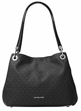 Michael Kors Raven Signature Logo Large Shoulder Tote Bag (Black Silver)