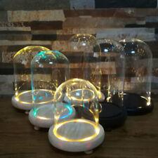 More details for clear glass cloche bell jar flower vase led lighting dome display & wooden base