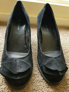 "Django Juliette ""SANDIEGO"" Black Wedge Heeled Suede Shoes As New Size 42 10"