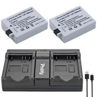 2 LP-E5 battery  + USB Charger for Canon EOS 450D 500D 1000D Rebel XS XSi T1i X2