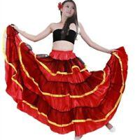 Womens Ruffle Layer Swing Dance Skirts Spanish Flamenco Modern Ballroom Costumes