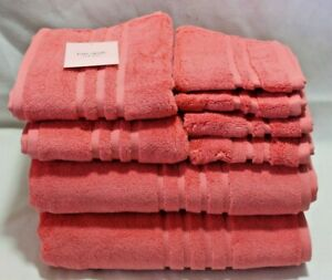 Kate Spade Eight Piece Bathroom Towel Set Solid Coral 100% Cotton New