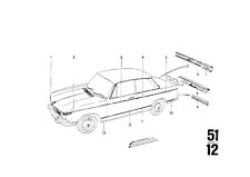 BMW 2002 Genuine OEM Upper Belt-Line Chrome Molding Kit With Clips - 1968-1976