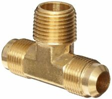 "Brass Tube Fitting, Tee, 3/8"" Flare x 3/8"" Flare x 1/2"" Male Pipe"