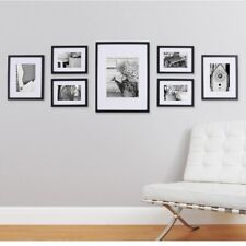 Photo Picture Collage Frame Set Wooden Matted Home Art Gallery Wall Decor Black