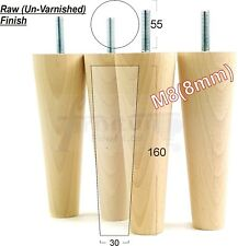 4x WOOD REPLACEMENT RETRO FURNITURE LEGS SOFA CHAIRS SETTEES 160mm HIGH M8 (8mm)