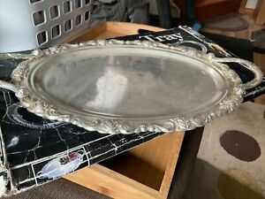 46.5x28cm embossed Silverplated Oval Platter VGUC Surplus to need