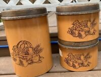 3 - Vintage Cheinco Housewares Metal Fruit Kitchen Canisters - Faux Wood Tops
