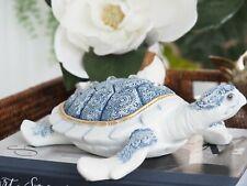 Willow Blue & White Resin Turtle 23cm Hamptons Coastal Home Decor
