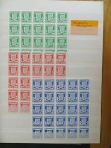Guernsey Arms SG 1, 2 and 3 in MNH blocks of 25 - bought as forgeries?